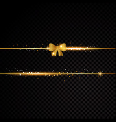 two golden lines with bow and light effects vector image