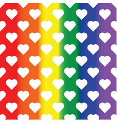 White hearts on rainbow background lgbt vector