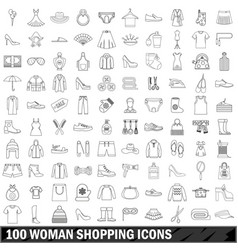 100 woman shopping icons set outline style vector