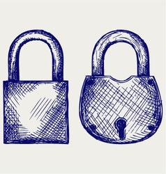 Closed locks security icon vector