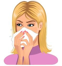Sneezing woman vector image