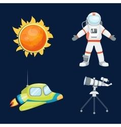 Astronomy space rocket cartoon set vector