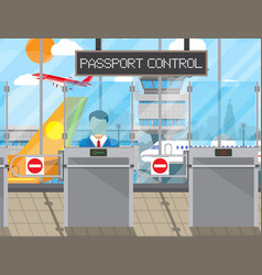 Border control concept immigration officer vector