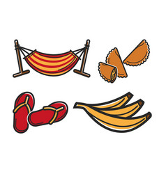 Hammock and different food vector