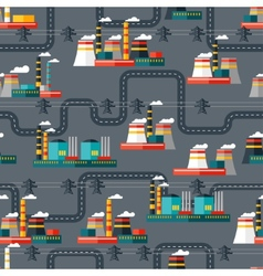 Seamless pattern of industrial power plants in vector