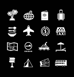 Set icons of travel and tourism vector