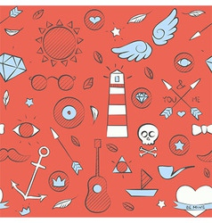 Sea doodle seamless hipster pattern over red vector
