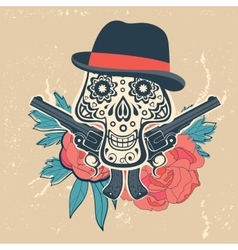 Hand drawn skull with guns and flowers in vintage vector
