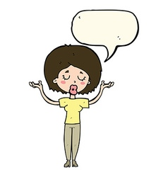 Cartoon peaceful woman with speech bubble vector
