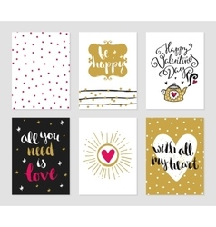 Cards set of love theme vector