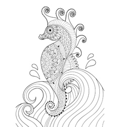 Hand drawn artistic sea horse in waves for adult vector