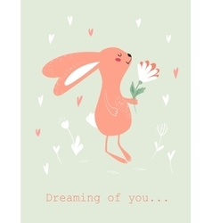 Bunny with flower card vector