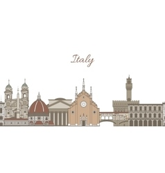 Template with famous landmarks of italy vector