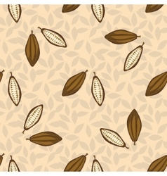 Cacao beans seamless pattern chocolate background vector