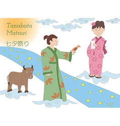 Milky way couple and cow tanabata legend vector