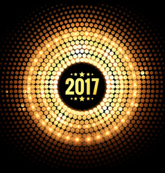 Background of 2017 with golden dots and lights vector