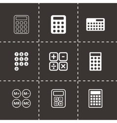 black calculator icon set vector image vector image