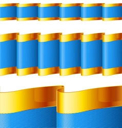 Blue ribbons with gold edging vector