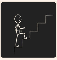 business success climbing stairs in chalk icon vector image vector image