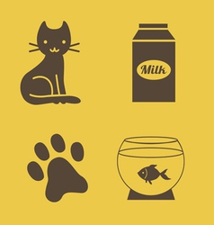 Cat theme icons vector image vector image