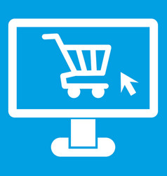 computer monitor with shopping cart icon white vector image