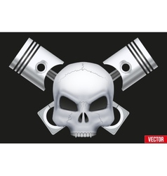 Creative symbol Human skull with engine vector image