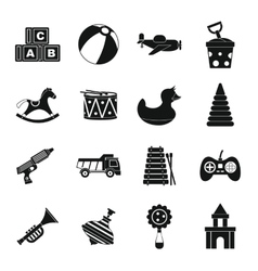 Different kids toys icons set simple style vector