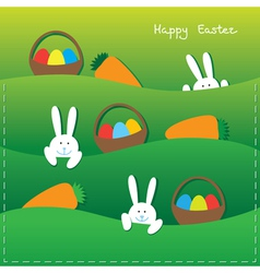 Easter card with funny bunnies vector image vector image