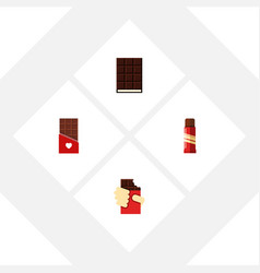 Flat icon sweet set of sweet shaped box dessert vector