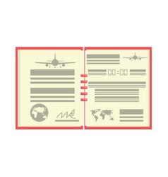 Flight log book vector
