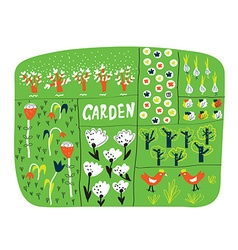 Garden plan with beds funny vector image vector image