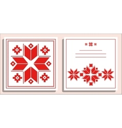 Greeting card with folk scandinavian and Nordic vector image vector image