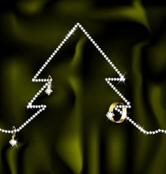 Jewelry and christmas tree vector