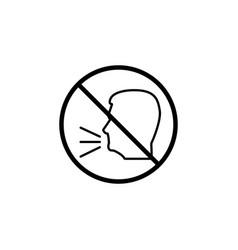 Keep quiet line icon no speak prohibition sign vector