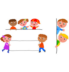 kids holding blank label vector image