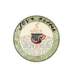 Love coffee emblem vector