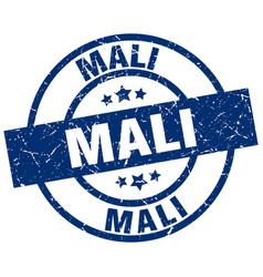 Mali blue round grunge stamp vector
