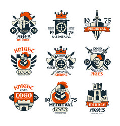 Medieval logo design set middle ages vintage vector