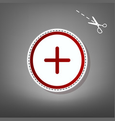 Positive symbol plus sign red icon with vector