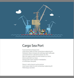 Poster with cargo seaport vector