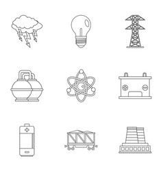 Power generation icon set outline style vector