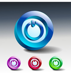 Red round button with start icon vector image