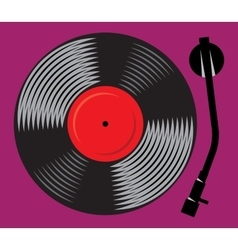 symbolic gramophone with vinyl record retro DJ vector image