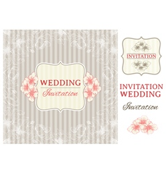 Vintage invitation card and design elements vector image