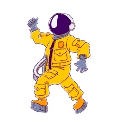 Walking and cheering astronaut vector