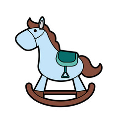 Wood rocking horse baby or shower related ico vector
