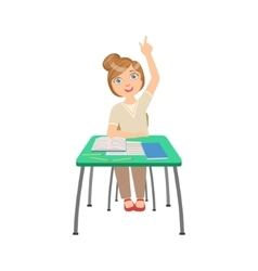 Know-it-all Schoolgirl Sitting Behind The Desk In vector image