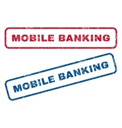 Mobile banking rubber stamps vector