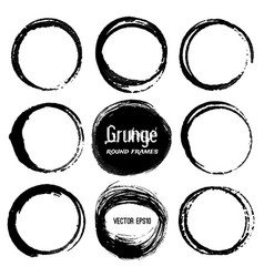 set of round grunge frames vector image