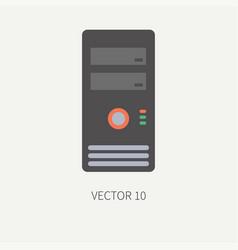 Plain flat color computer part icon housing vector
